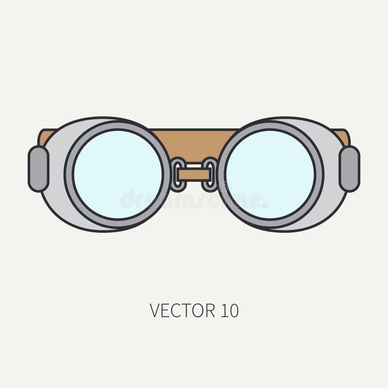 Vectorpictogram van de lijn het vlakke kleur van tekeningsinstrumenten voor aerography - veiligheidsbeschermende brillen De stijl royalty-vrije illustratie