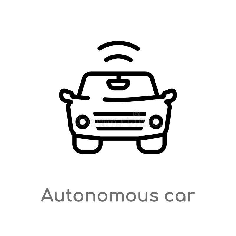 vectorpictogram van de overzichts het autonome auto de geïsoleerde zwarte eenvoudige illustratie van het lijnelement van slim hui vector illustratie
