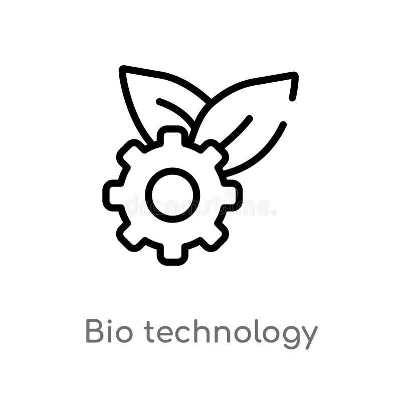 vectorpictogram van de overzichts het biotechnologie de ge?soleerde zwarte eenvoudige illustratie van het lijnelement van algemee vector illustratie