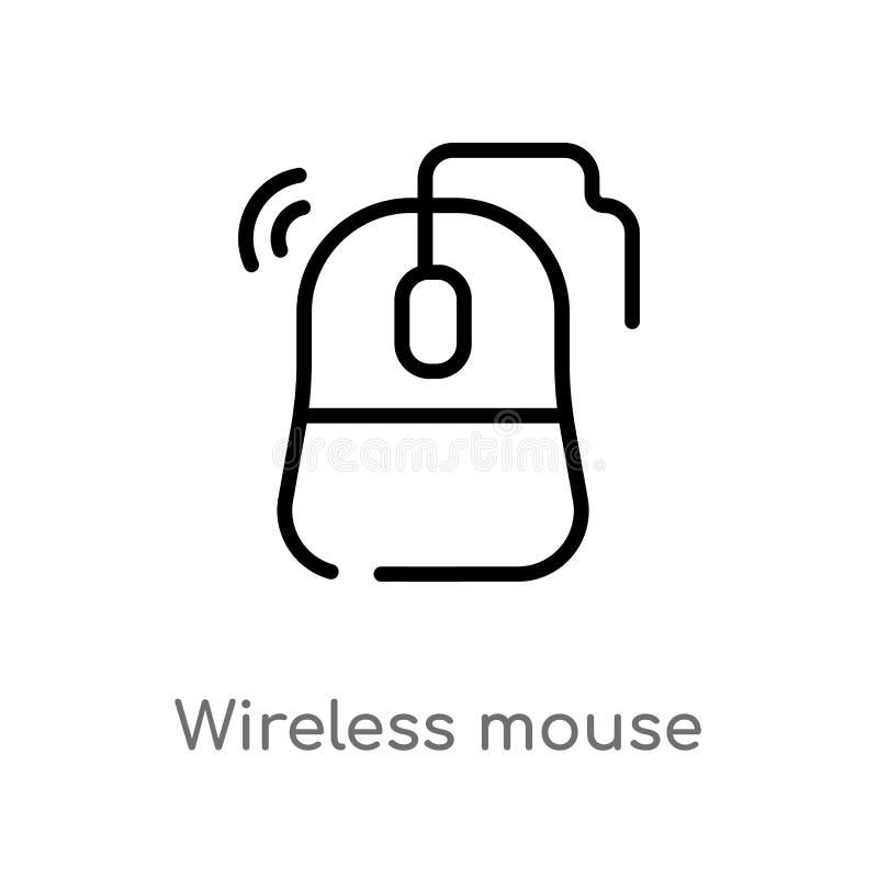 vectorpictogram van de overzichts het draadloze muis de ge?soleerde zwarte eenvoudige illustratie van het lijnelement van technol stock illustratie