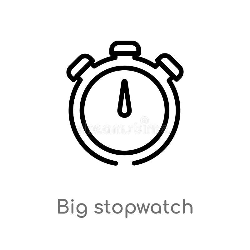 vectorpictogram van de overzichts het grote chronometer de geïsoleerde zwarte eenvoudige illustratie van het lijnelement van gymn stock illustratie
