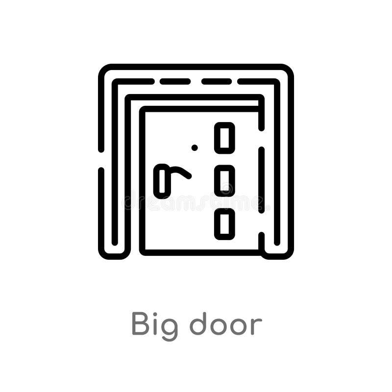 vectorpictogram van de overzichts het grote deur de geïsoleerde zwarte eenvoudige illustratie van het lijnelement van bouwconcept vector illustratie
