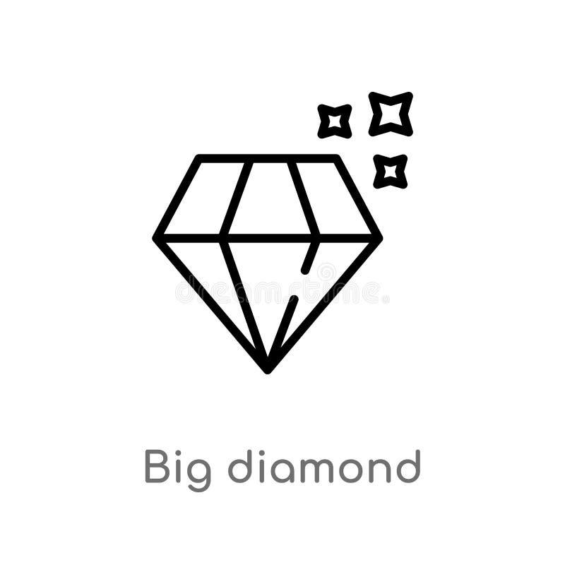 vectorpictogram van de overzichts het grote diamant de geïsoleerde zwarte eenvoudige illustratie van het lijnelement van vormenco stock illustratie