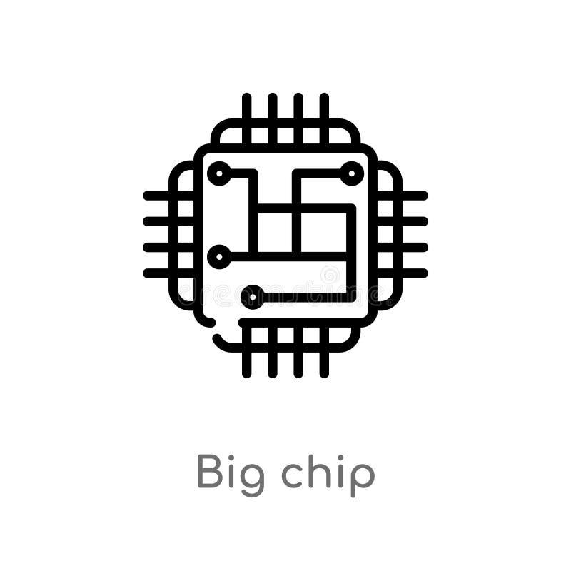 vectorpictogram van de overzichts het grote spaander de geïsoleerde zwarte eenvoudige illustratie van het lijnelement van technol stock illustratie