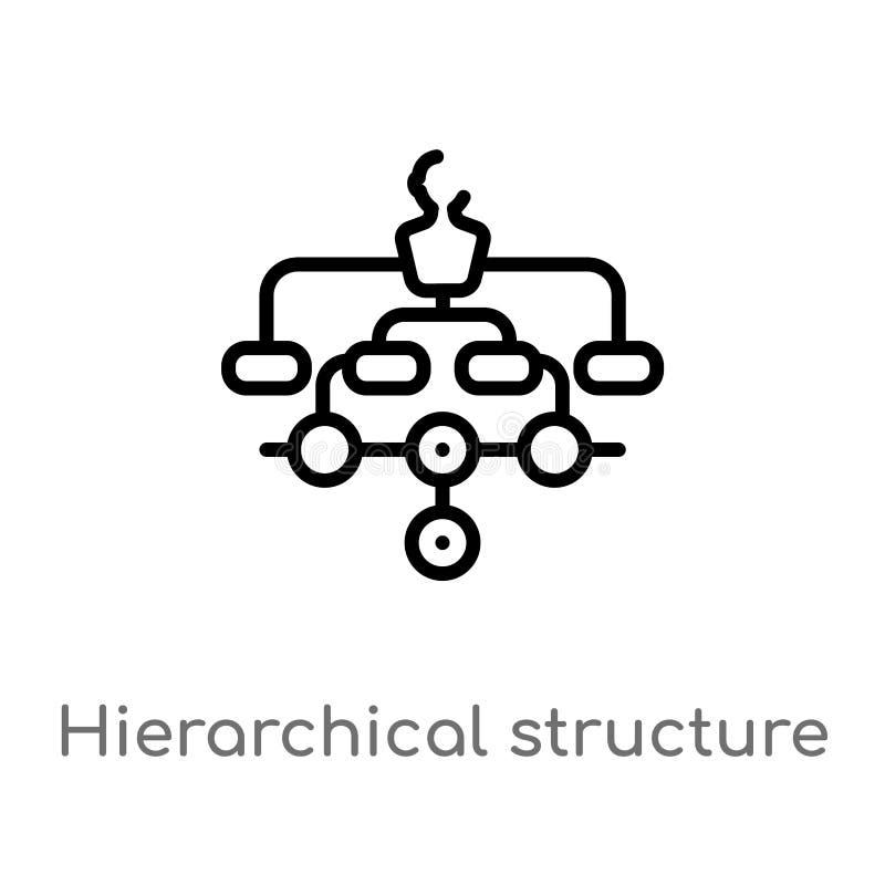 vectorpictogram van de overzichts het hi?rarchische structuur de ge?soleerde zwarte eenvoudige illustratie van het lijnelement va royalty-vrije illustratie