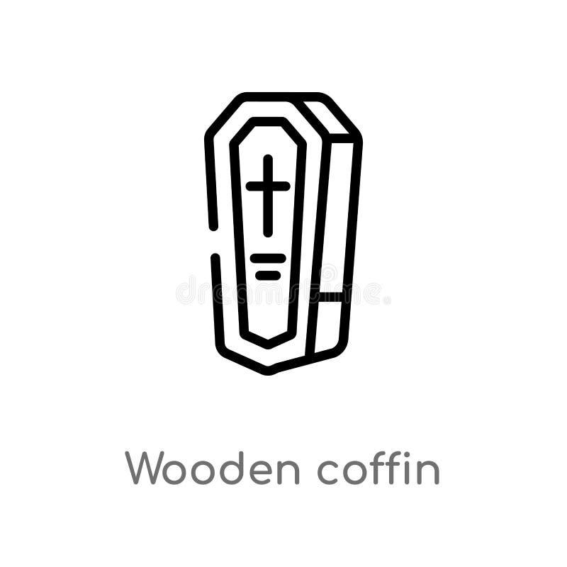 vectorpictogram van de overzichts het houten doodskist de ge?soleerde zwarte eenvoudige illustratie van het lijnelement van woest vector illustratie