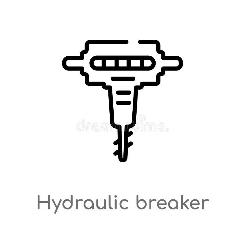 vectorpictogram van de overzichts het hydraulische breker de geïsoleerde zwarte eenvoudige illustratie van het lijnelement van bo royalty-vrije illustratie