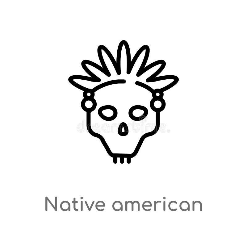 vectorpictogram van de overzichts het inheemse Amerikaanse schedel de ge?soleerde zwarte eenvoudige illustratie van het lijneleme stock illustratie