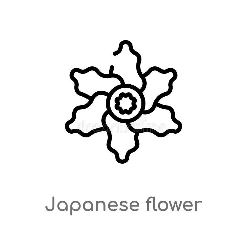 vectorpictogram van de overzichts het Japanse bloem de geïsoleerde zwarte eenvoudige illustratie van het lijnelement van aardconc royalty-vrije illustratie