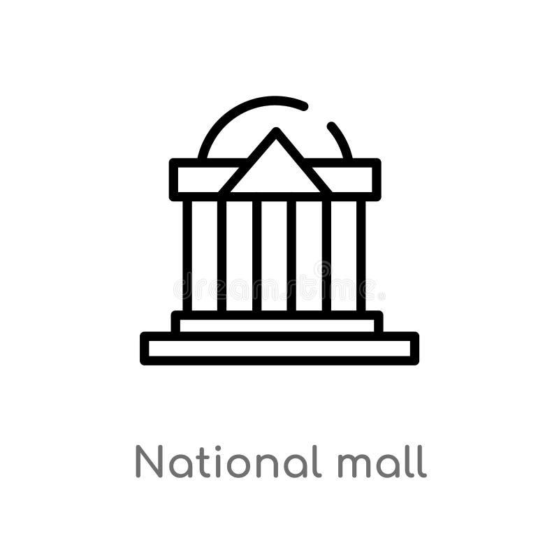 vectorpictogram van de overzichts het nationale wandelgalerij de ge?soleerde zwarte eenvoudige illustratie van het lijnelement va stock illustratie
