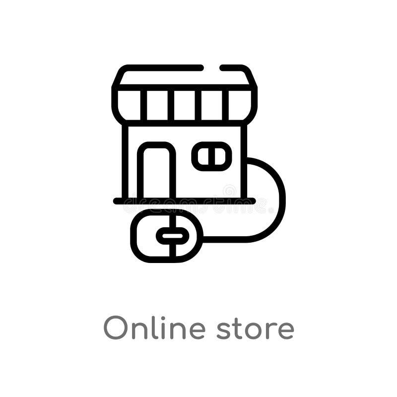 vectorpictogram van de overzichts het online opslag de geïsoleerde zwarte eenvoudige illustratie van het lijnelement van marketin royalty-vrije illustratie