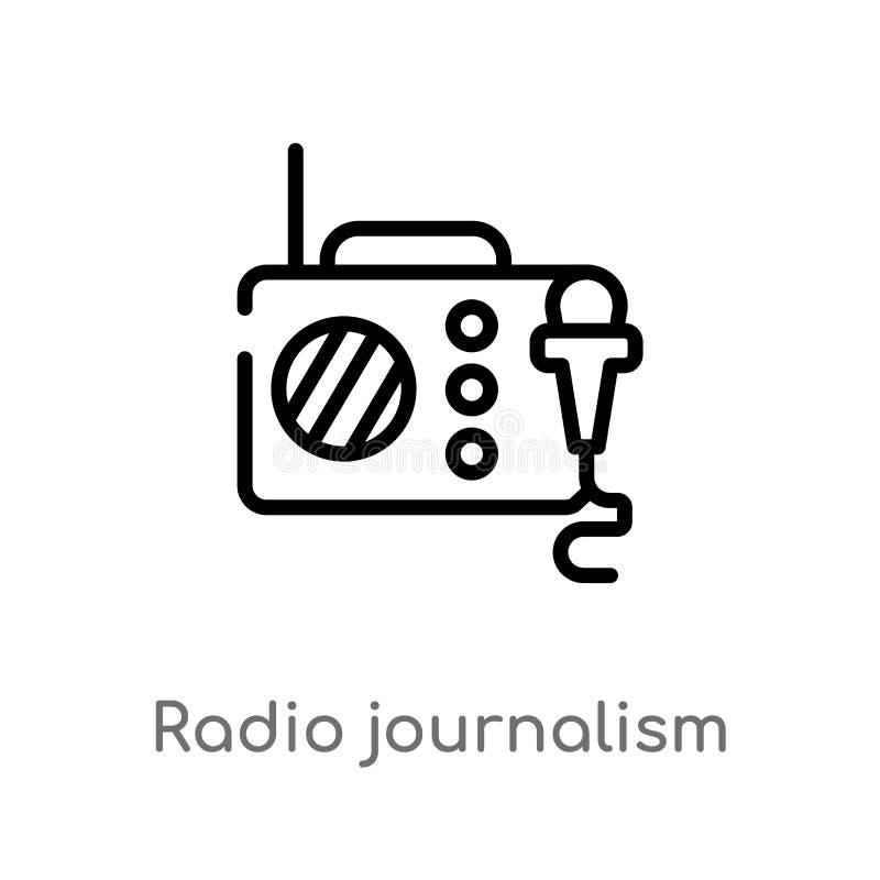 vectorpictogram van de overzichts het radiojournalistiek de geïsoleerde zwarte eenvoudige illustratie van het lijnelement van tec stock illustratie