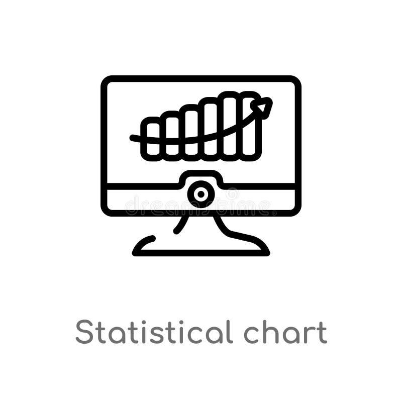 vectorpictogram van de overzichts het statistische grafiek de ge?soleerde zwarte eenvoudige illustratie van het lijnelement van b royalty-vrije illustratie