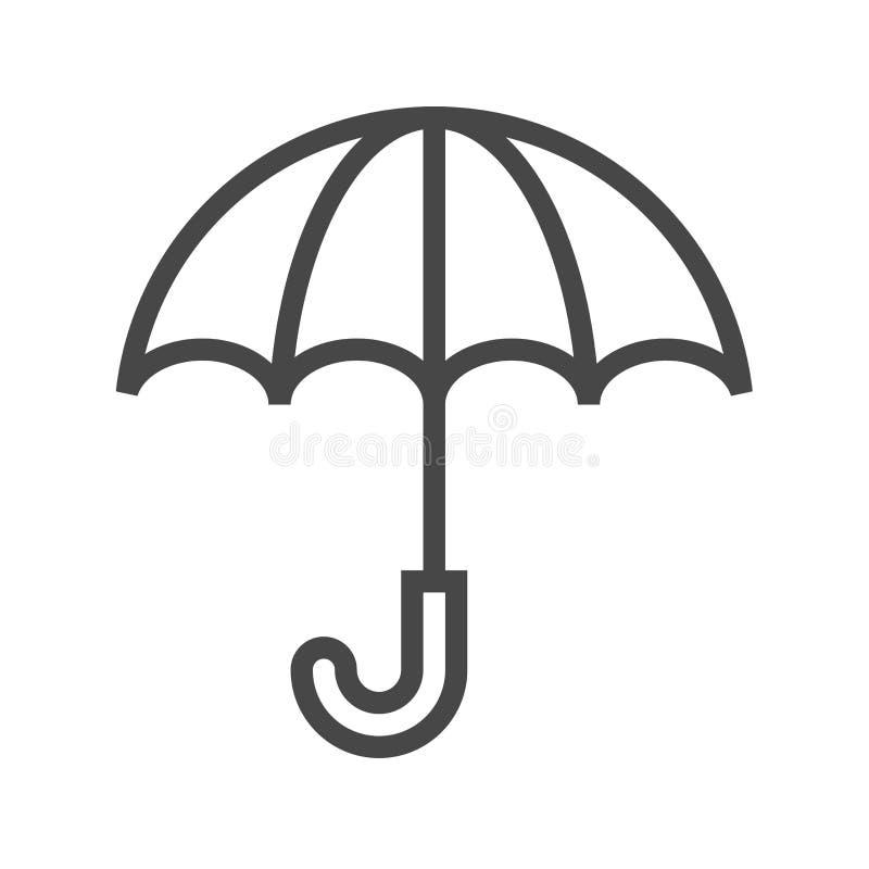 Vectorpictogram van de paraplu het Dunne Lijn stock illustratie