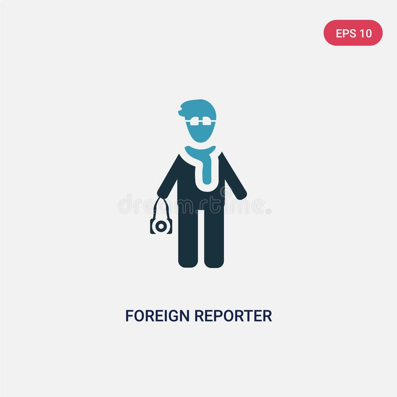 Vectorpictogram van de twee kleuren het buitenlandse verslaggever van mensenconcept het geïsoleerde blauwe buitenlandse symbool v stock illustratie