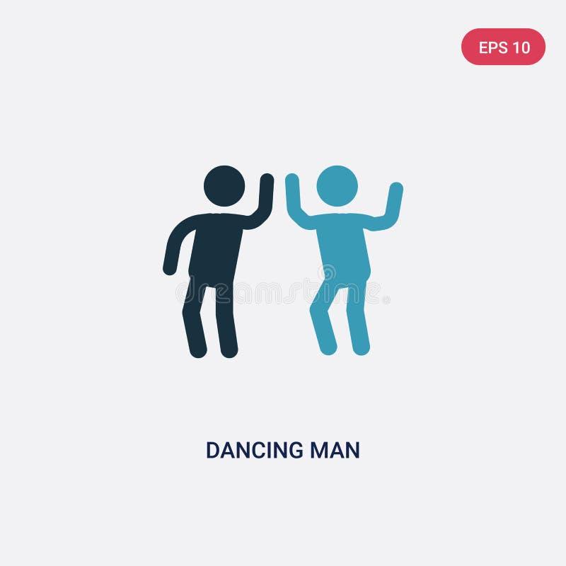 Vectorpictogram van de twee kleuren het dansende mens van mensenconcept het geïsoleerde blauwe dansende symbool van het mensen ve stock illustratie