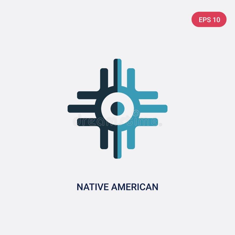 Vectorpictogram van de twee kleuren het inheemse Amerikaanse zon van godsdienstconcept het geïsoleerde blauwe inheemse Amerikaans vector illustratie
