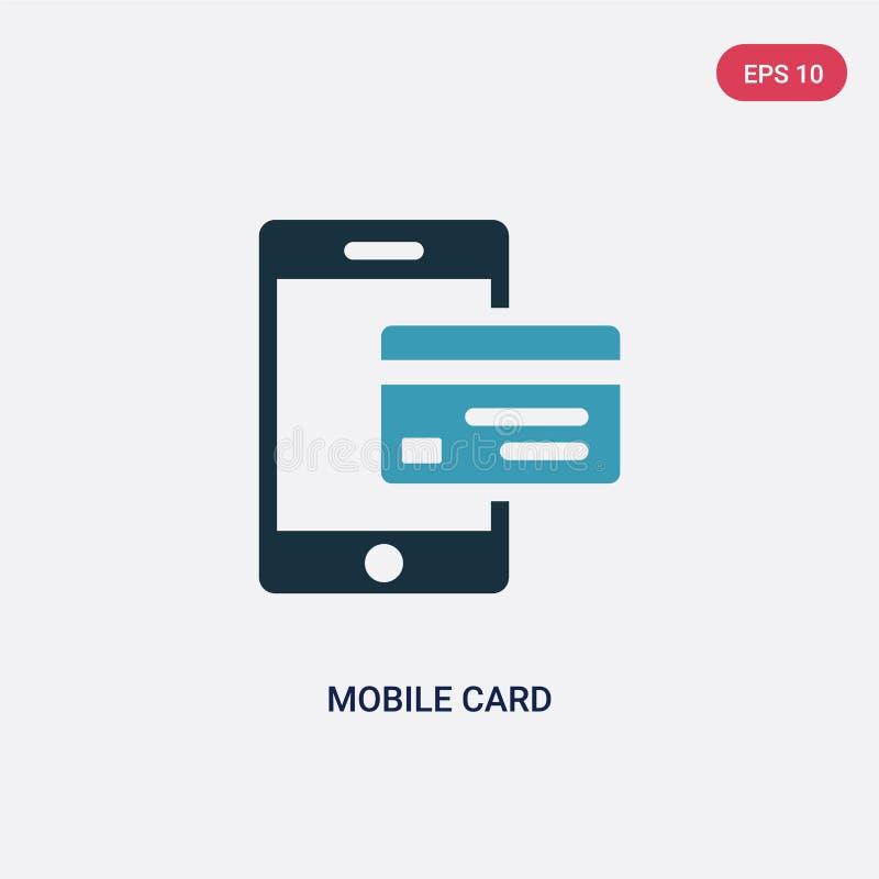 Vectorpictogram van de twee kleuren het mobiele kaart van betalingsconcept het geïsoleerde blauwe mobiele symbool van het kaart v royalty-vrije illustratie