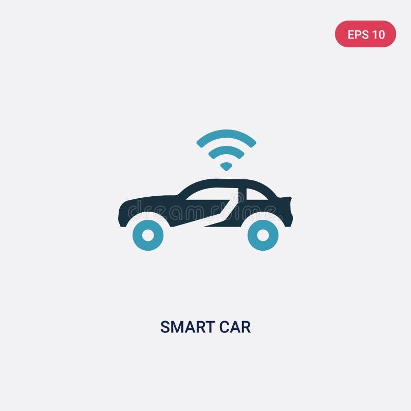 Vectorpictogram van de twee kleuren het slimme auto van de programmering van concept het geïsoleerde blauwe slimme symbool van he stock illustratie