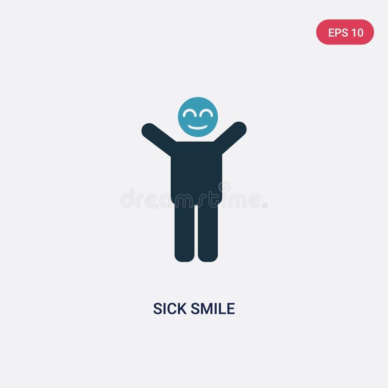 Vectorpictogram van de twee kleuren het zieke glimlach van mensenconcept de geïsoleerde blauwe zieken glimlachen vectortekensymbo stock illustratie