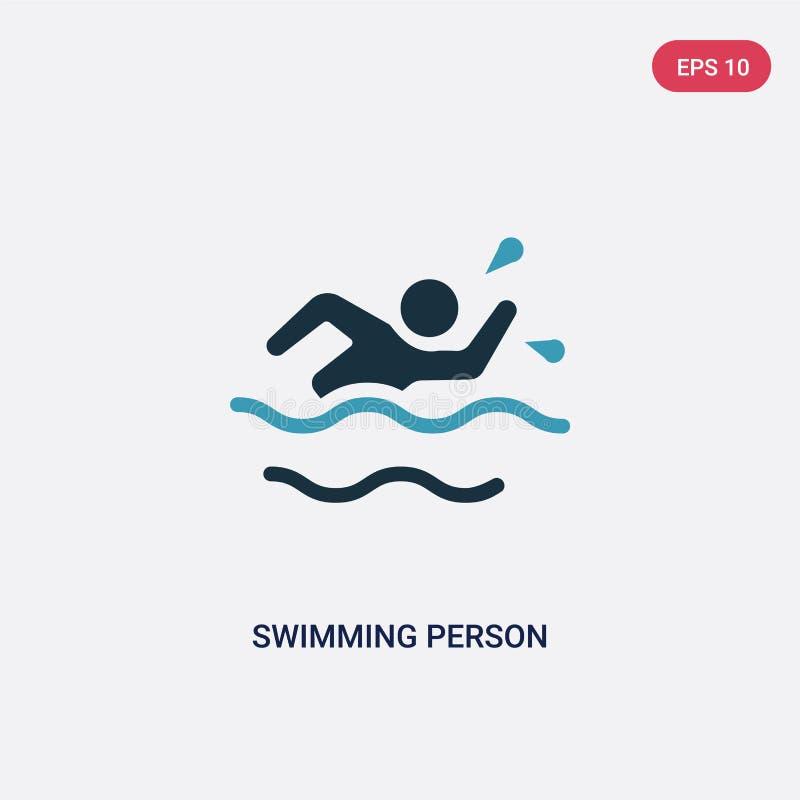 Vectorpictogram van de twee kleuren het zwemmende persoon van de zomerconcept het ge?soleerde blauwe zwemmende symbool van het pe stock illustratie