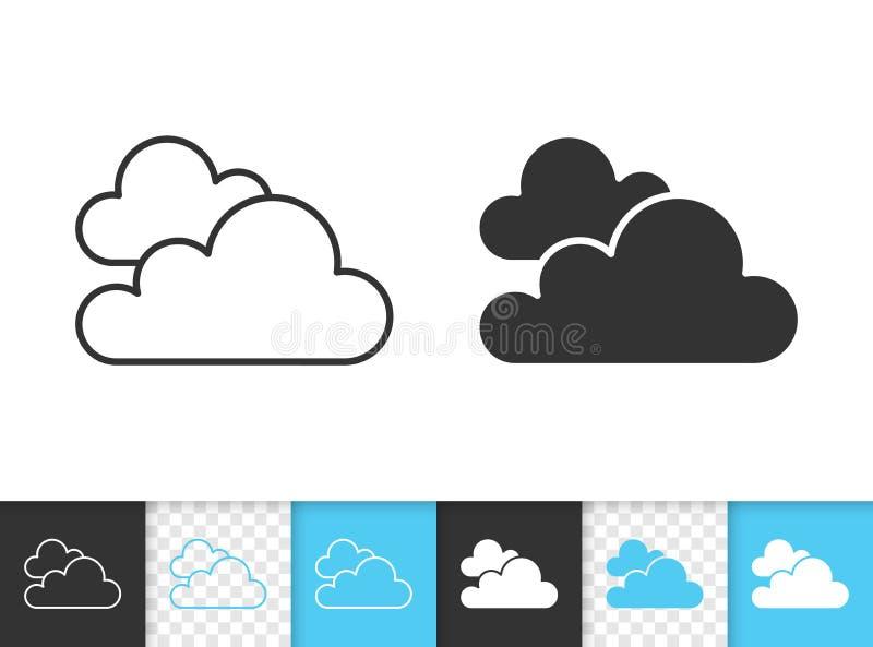 Vectorpictogram van de wolken het eenvoudige zwarte lijn vector illustratie