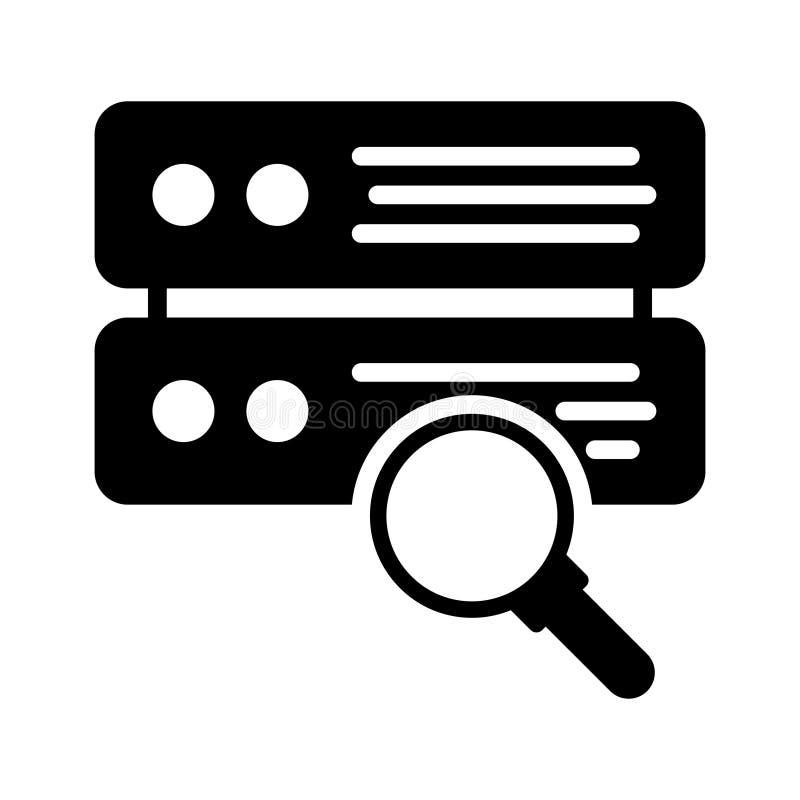 Vectorpictogram van de Zoekenserver glyph het vlak stock illustratie