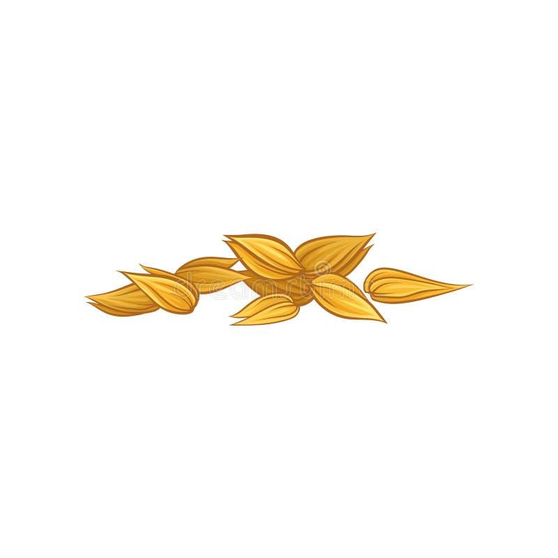 Vectorpictogram van droge tarwekorrels Symbool van graangewassengewas Concept voor embleem, biologisch productetiket of verpakkin royalty-vrije illustratie