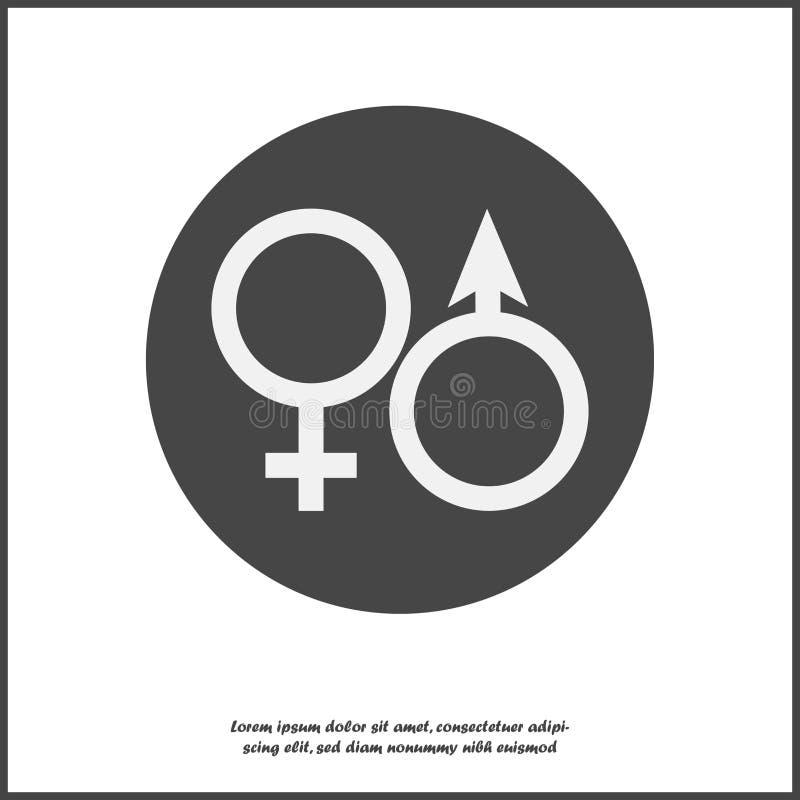 Vectorpictogram van geslachtssymbool op rond Man en vrouwenillustratie op wit geïsoleerde achtergrond Lagen voor het gemakkelijke royalty-vrije illustratie
