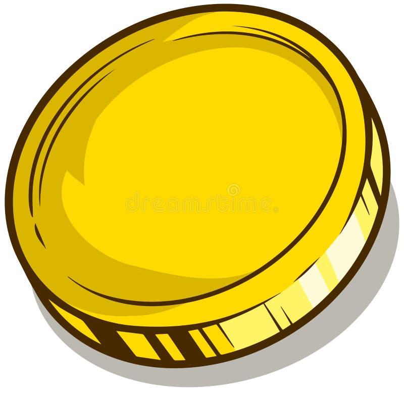 Vectorpictogram van het beeldverhaal het gouden lege muntstuk stock illustratie