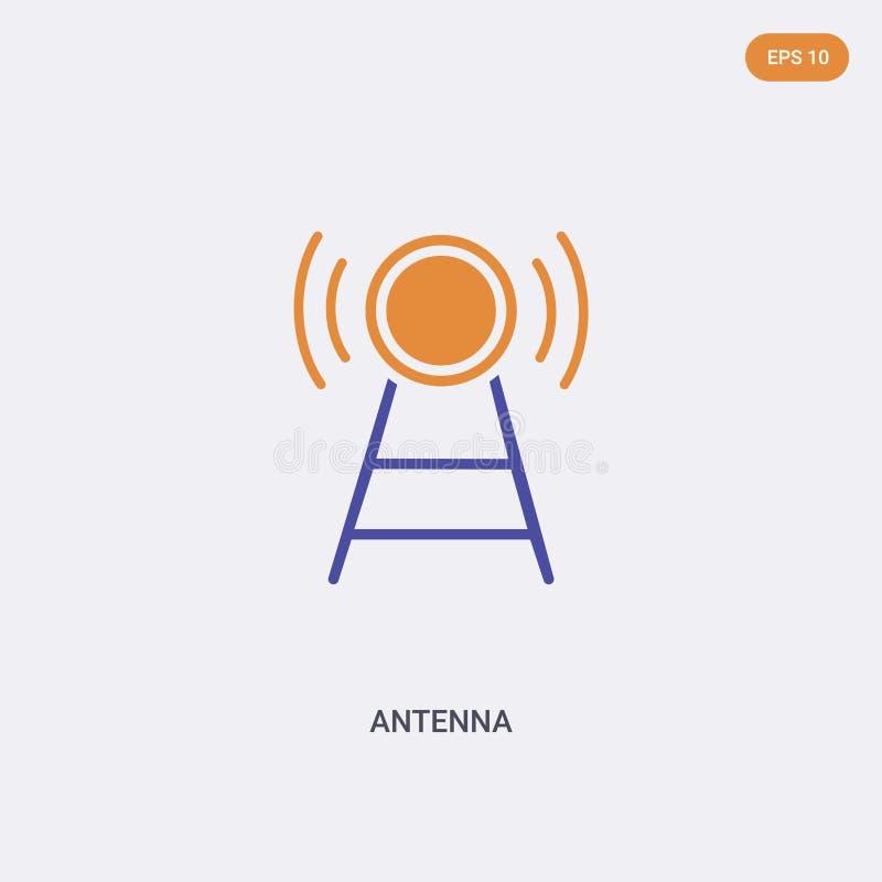 2 vectorpictogram van het concept van de antenne van de kleur geïsoleerde twee kleur Het vectorteken van de Antenne dat met blauw vector illustratie