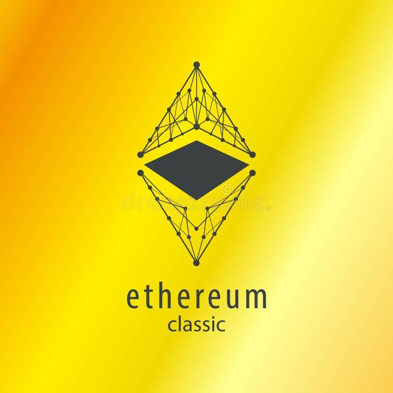 Vectorpictogram van het Ethereum het Klassieke Symbool met Gouden Achtergronden royalty-vrije illustratie