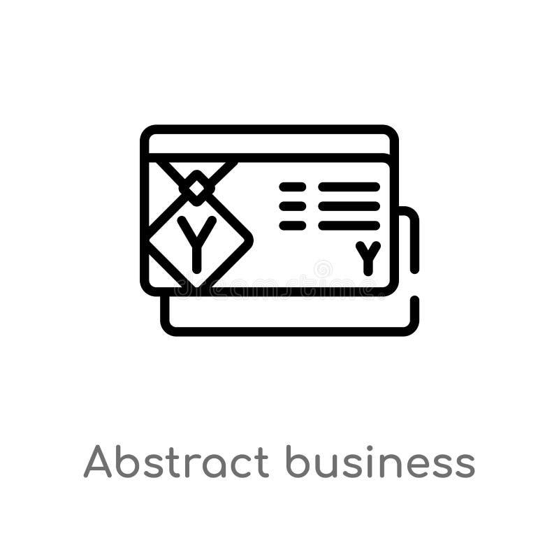 vectorpictogram van het overzichts het abstracte adreskaartje de ge?soleerde zwarte eenvoudige illustratie van het lijnelement va stock illustratie