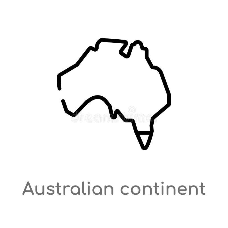 vectorpictogram van het overzichts het Australische continent de geïsoleerde zwarte eenvoudige illustratie van het lijnelement va vector illustratie