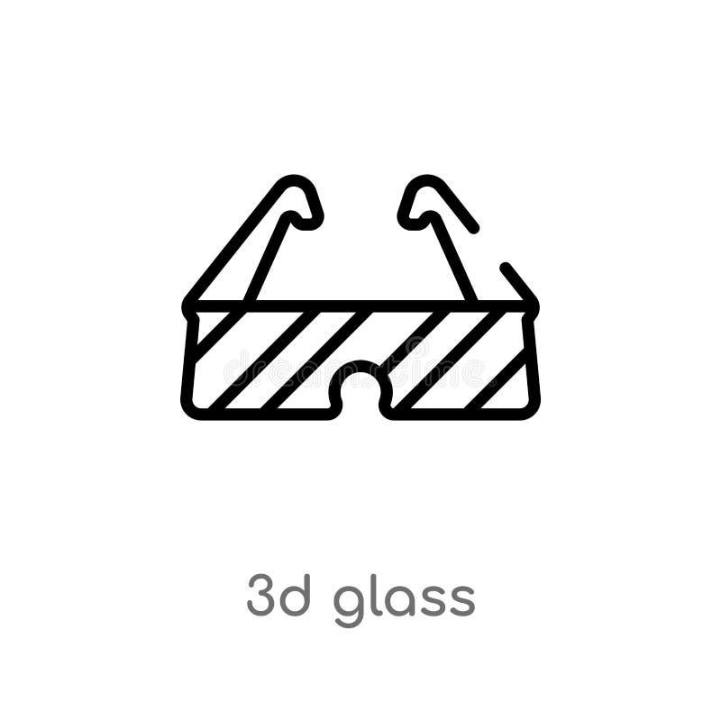 vectorpictogram van het overzichts 3d glas de ge?soleerde zwarte eenvoudige illustratie van het lijnelement van bioskoopconcept e royalty-vrije illustratie