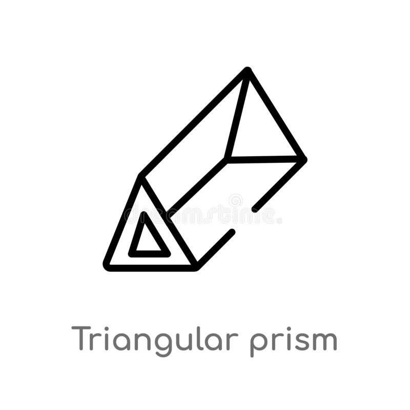 vectorpictogram van het overzichts het driehoekige prisma de geïsoleerde zwarte eenvoudige illustratie van het lijnelement van vo stock illustratie