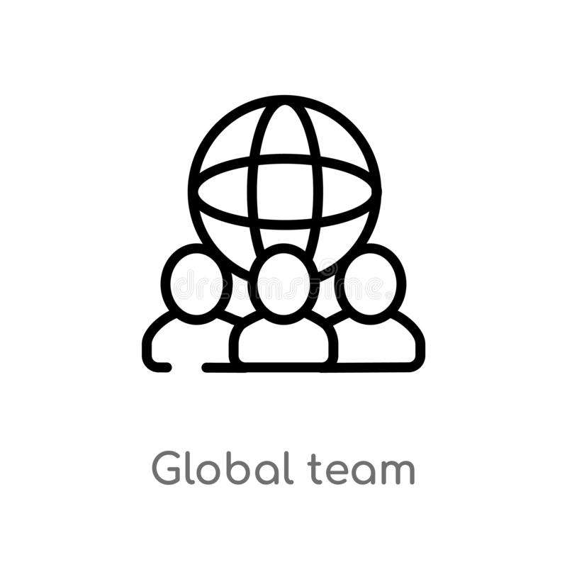 vectorpictogram van het overzichts het globale team de geïsoleerde zwarte eenvoudige illustratie van het lijnelement van algemeen royalty-vrije illustratie