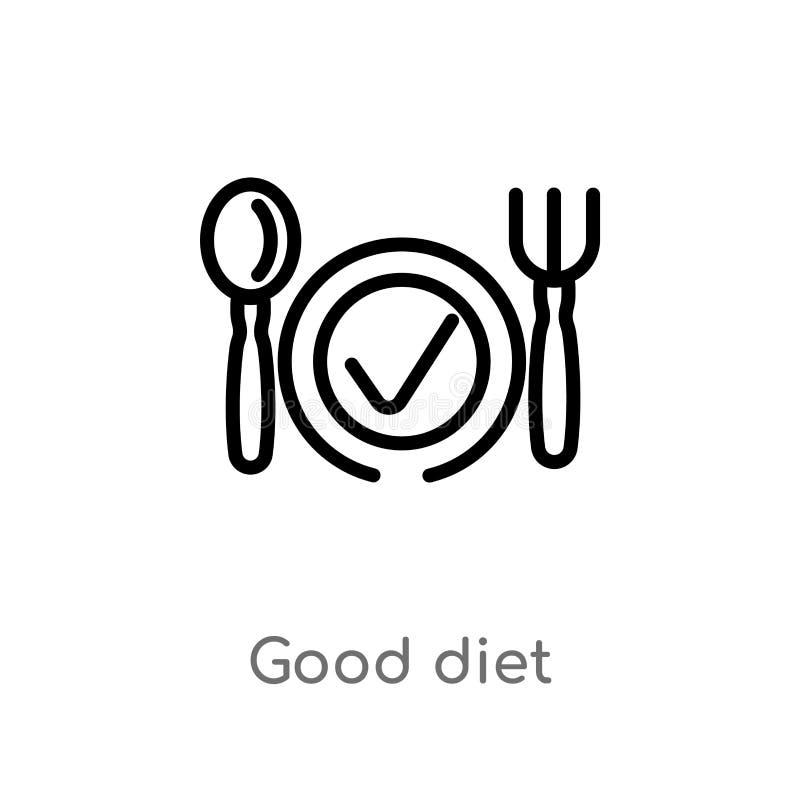 vectorpictogram van het overzichts het goede dieet de ge?soleerde zwarte eenvoudige illustratie van het lijnelement van gymnastie stock illustratie
