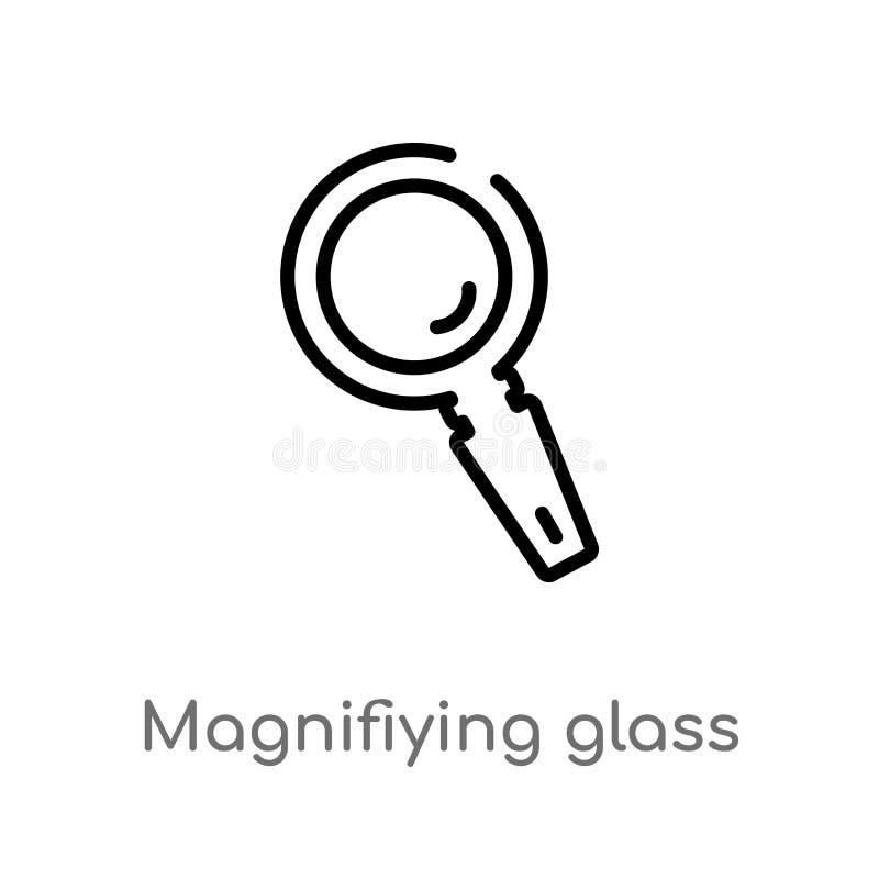 vectorpictogram van het overzichts het magnifiying glas de ge?soleerde zwarte eenvoudige illustratie van het lijnelement van alge vector illustratie
