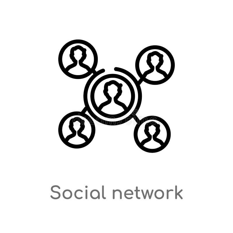 vectorpictogram van het overzichts het sociale netwerk de geïsoleerde zwarte eenvoudige illustratie van het lijnelement van blogg royalty-vrije illustratie