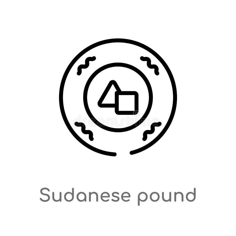 vectorpictogram van het overzichts het Soedanese pond de ge?soleerde zwarte eenvoudige illustratie van het lijnelement van het co vector illustratie
