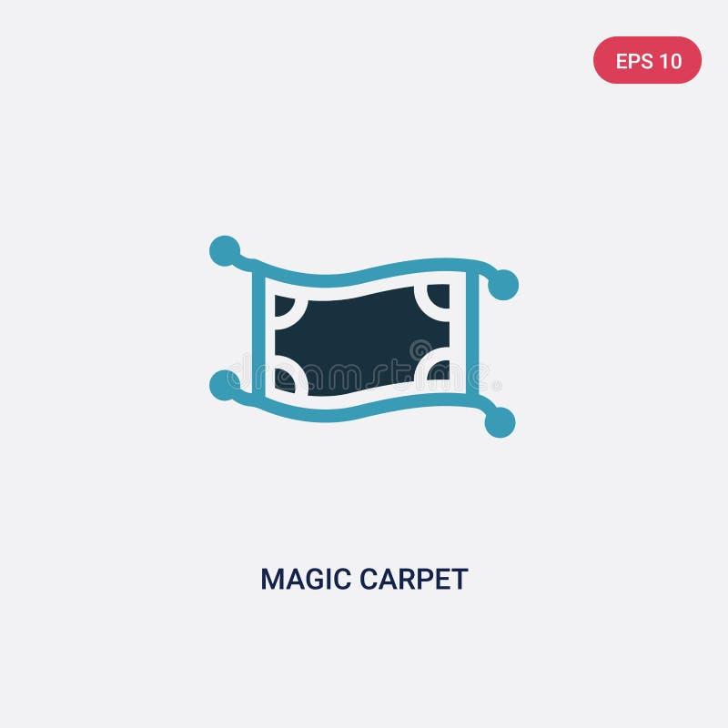 Vectorpictogram van het twee kleuren het magische tapijt van godsdienstconcept het geïsoleerde blauwe magische symbool van het ta royalty-vrije illustratie