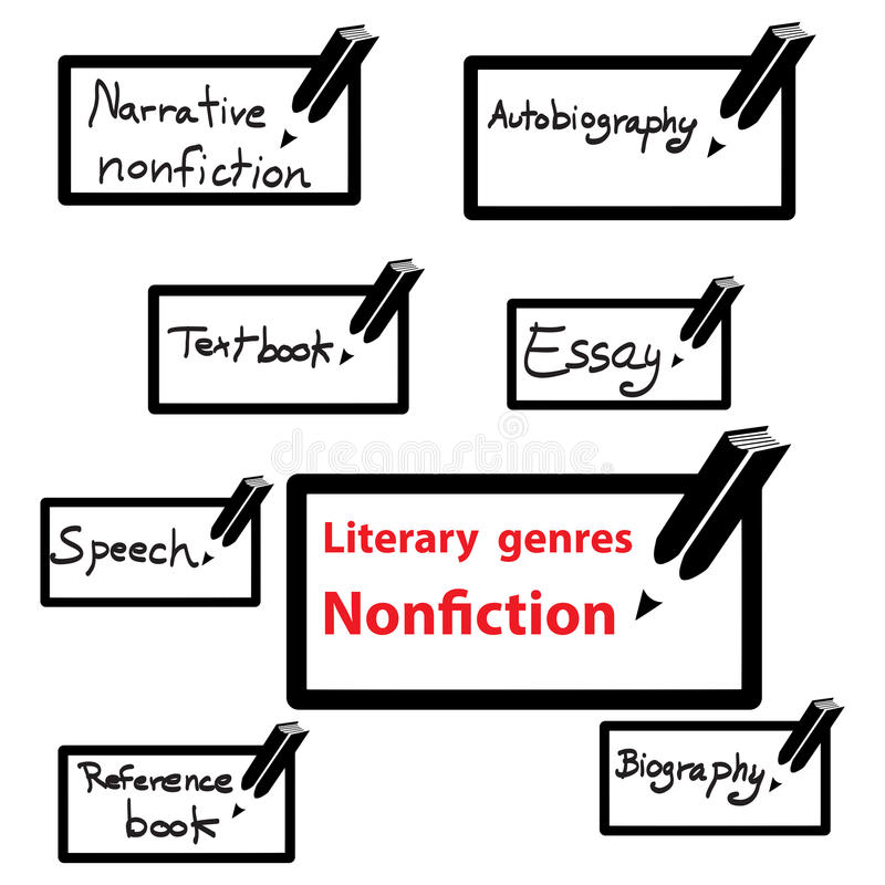 Vectorpictogram van literaire genresnon-fictie, boek vector illustratie