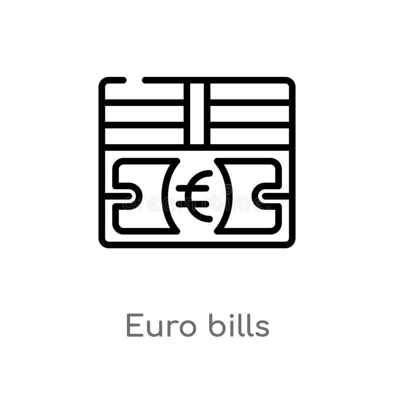 vectorpictogram van overzichts het euro rekeningen de ge?soleerde zwarte eenvoudige illustratie van het lijnelement van bedrijfsc vector illustratie