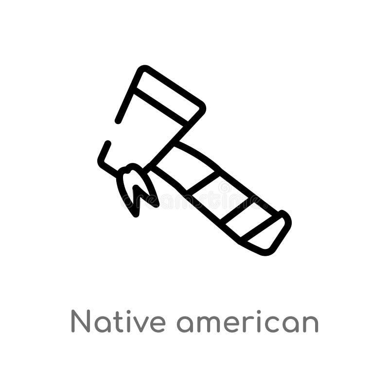 vectorpictogram van overzichts het inheemse Amerikaanse assen de ge?soleerde zwarte eenvoudige illustratie van het lijnelement va stock illustratie