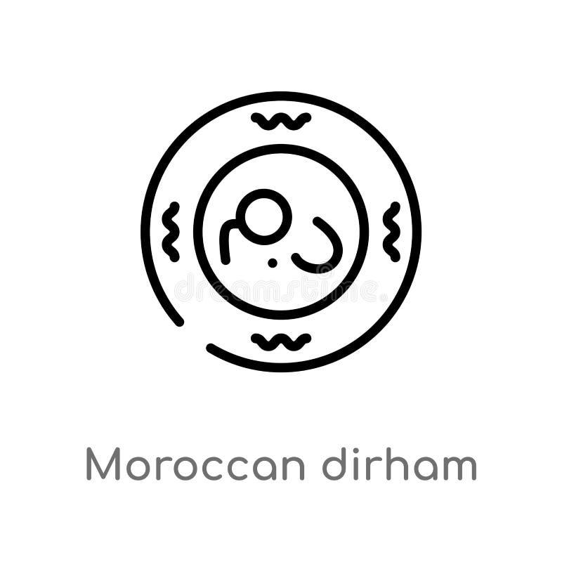 vectorpictogram van overzichts het Marokkaanse dirham de geïsoleerde zwarte eenvoudige illustratie van het lijnelement van het co royalty-vrije illustratie