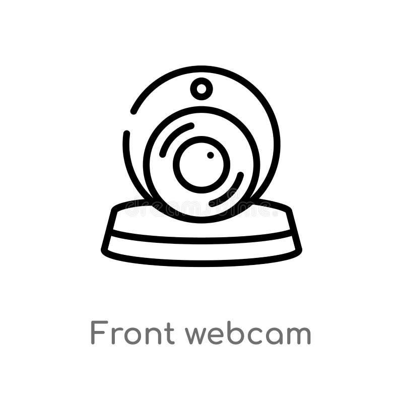vectorpictogram van overzichts het voorwebcam de ge?soleerde zwarte eenvoudige illustratie van het lijnelement van technologiecon royalty-vrije illustratie