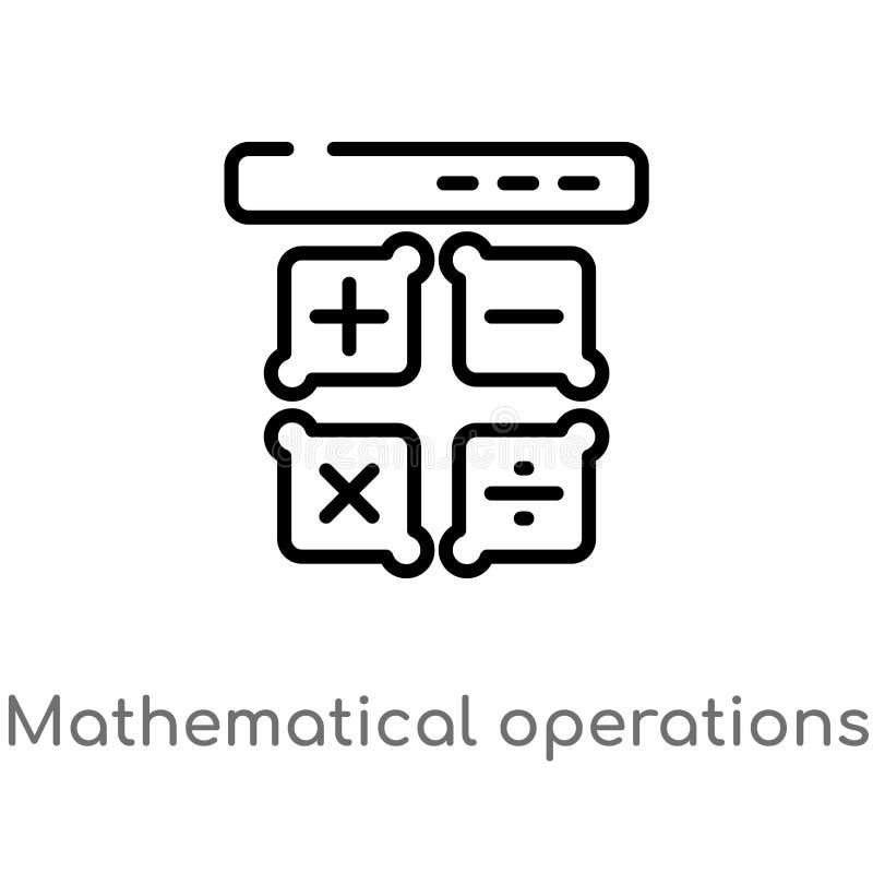 vectorpictogram van overzichts het wiskundige verrichtingen de ge?soleerde zwarte eenvoudige illustratie van het lijnelement van  stock illustratie