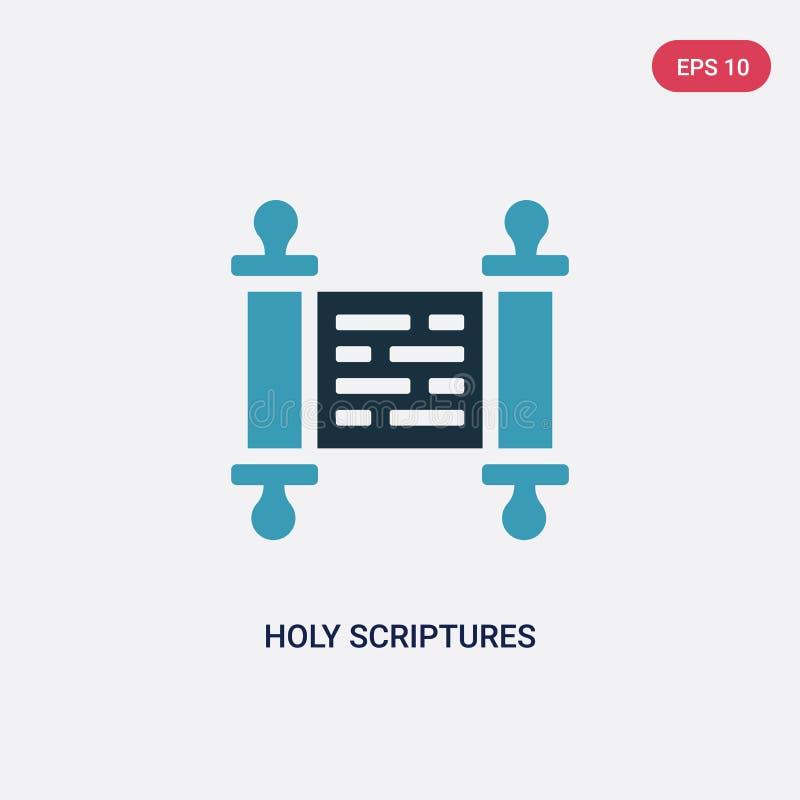 Vectorpictogram van twee kleuren het heilige scriptures van godsdienstconcept het geïsoleerde blauwe heilige symbool van het scri vector illustratie