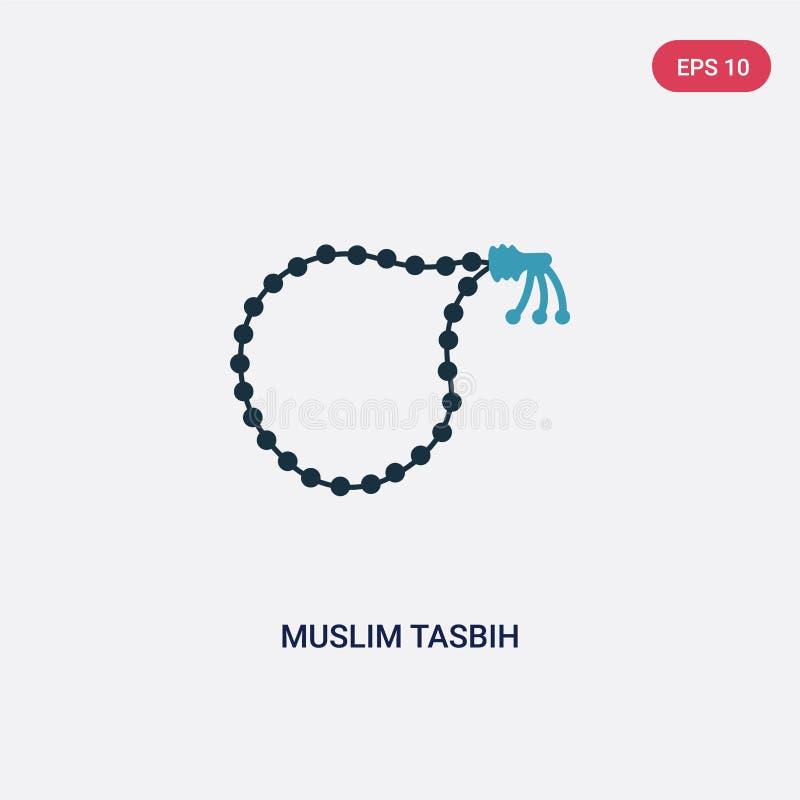 Vectorpictogram van twee kleuren het moslimtasbih van godsdienstconcept het geïsoleerde blauwe moslimsymbool van het tasbih vecto stock illustratie